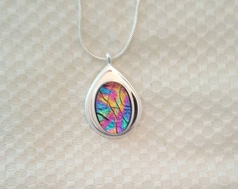 Dichroic Glass Pendant in Silver Setting