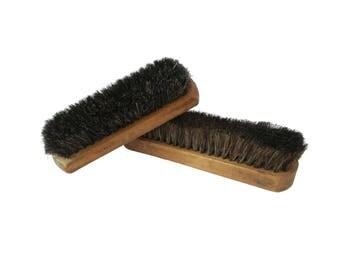 Vintage Wood Block Horsehair Clothing Shoe Brush Set of 2