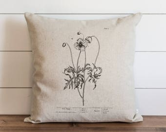 Poppy_two 20 x 20 Pillow Cover // Botanical // Floral // Throw Pillow // Cushion Cover // Gift for Her