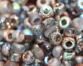 10 gr Seed Beads, 8/0, Etched Crystal Copper Rainbow: 98583, seed beads, rocailles, glass beads