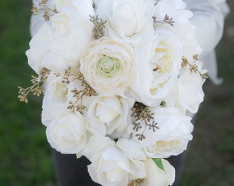 Wedding Bouquet Off White Peony Roses Cascade - Gold Accent Teardrop Natural Touch Silk Flower Bride Cascade Bouquet -