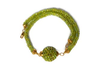 Woven jewelry Necklaces herringbone Seed bead Green necklace