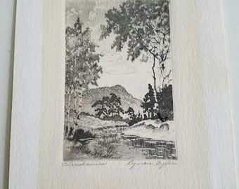 Vintage Black and White Nature Print of Windriver signed. Byxbe, Lyman