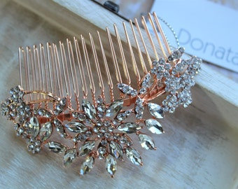 SALE Wedding hairpiece ,Rose Gold Hair Comb, Crystal Hair comb, Wedding headpiece, Bridal headpiece, Wedding headpiece , Bridal Accessories