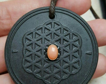 SALE Scalar Flower of Life Energy Pendant Tourmaline with Angelskin Coral Reg 85