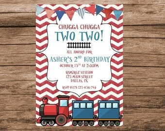 Train Invitation, Train Invitations, Chugga Chugga Two Two, Train Birthday, Digital Invitation