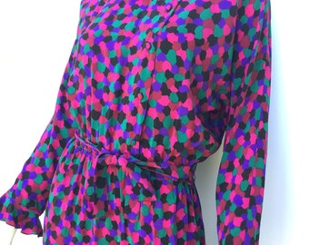 Vintage Guy LaRoche Vibrant Silk 80s Ruffle Polka Dot Secretary Dress 40 French Designer