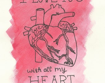 I Love You With All My Heart Anatomy Blank Greeting Card / Valentine's Day Card