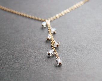 SALE Herkimer Diamond Y Necklace - herkimer diamond necklace, crystal quartz necklace, gold lariat necklace, dainty necklace, drop necklace