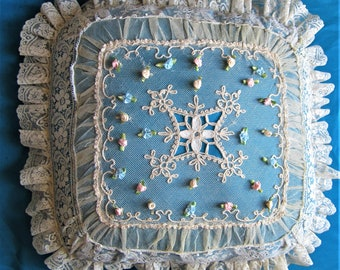 Redesigns handmade antique lace and vintage blue lining pillow