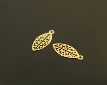 Tropical Leaf Pendant, S66-G4, 20 pcs, 14x6mm, Leaf Charm, Earring Charm, Gold Pendant, Matte Gold Pated Brass, Jewelry Supplies Wholesale