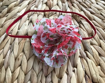 Red shabby chic chiffon flower headband