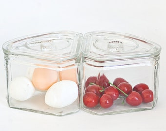 Vintage Scurlock Kontanerette Glass Refrigerator Dishes, Trianglular Storage Containers 1930s 40s
