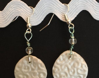 White circle polymer clay earrings
