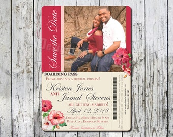 Destination Wedding Save the Date Boarding Pass with Photo - Printable
