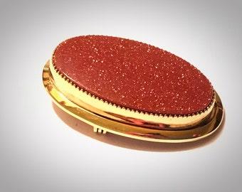 Vintage Signed Catamore Goldstone Gold Filled Ravioli Brooch Pin