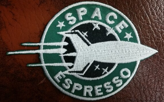 Space Expresso Starbucks Parody Patch, Future Cartoon Spoof Embroidery Patch, Space Coffee Embroidered Patch, Iron On Parody Patch