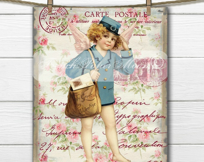 Vintage Digital Valentine Mailman, Shabby Chic, French Postal Graphics, French Pillow Transfer Graphic, Instant Download