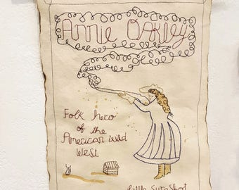 Annie Oakley Original Embroidered Wall Hanging