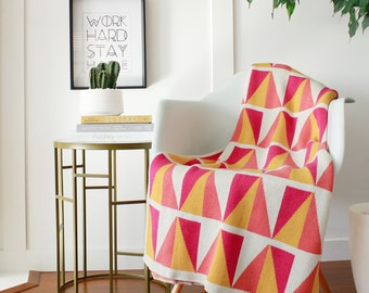 """Cotton Knitted Blanket - Coral, Yellow, Fuchsia, Ivory- """"Happy-Go-Lucky - Sunny"""" - 80% Recycled Cotton Fibers"""