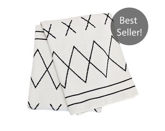 Cotton Knitted Throw Blanket - Rockin' Moroccan - Charcoal and Ivory - Made with 80% Regenerated Cotton Fibers