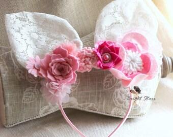 Pink bunny ears - Felt headband - Bunny ears headband - Lace bunny ears - Easter headband - headband Easter -  Flower headband - flower ears