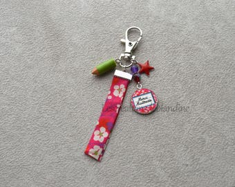 Wearing special master key, bias in fabric Liberty, assorted Crystal beads