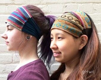 Nepalese Headband | Wide Headband | Yoga Headband | Cotton Headband | Recycled, Multiple Color, Running, Boho, Aztec, Native, Head Bandana