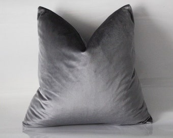 Custom Luxe Grey Sheen Velvet Pillow Cover