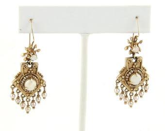 12261- Victorian Opal & Seed Pearls 14k Yellow Gold Drop Dangle Earrings