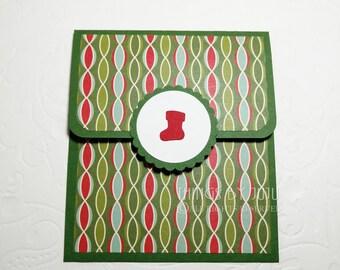 Green Christmas Gift Card Holder, Christmas Stocking Gift Card Holder, Holiday Gift Card Holder, Christmas Money Holder