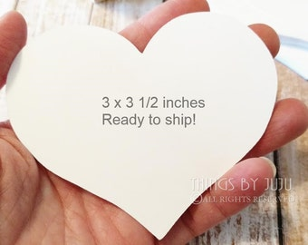25 Extra Large (3 x 3 1/2 inch) Heart Wish Tags, Advice Cards For Bride, White  Die Cut Hearts, Heart Wedding Tags, DIY Placecards