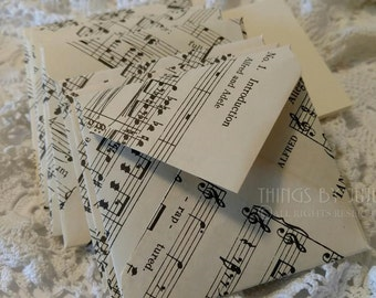 Vintage Music Paper Mini Envelopes With Flat Note Cards Music Lover Gift Sheet Music Envelope Handmade Music Mini Cards Music Wedding 3 inch