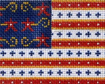 Needlepoint Handpainted CHRISTMAS Patriotic Flag Ornament Danji 3x4 -Free US Shipping!!!