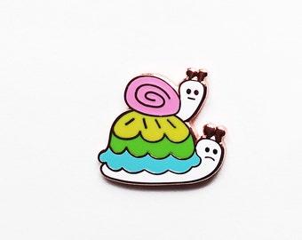 Slow snails hard enamel pin