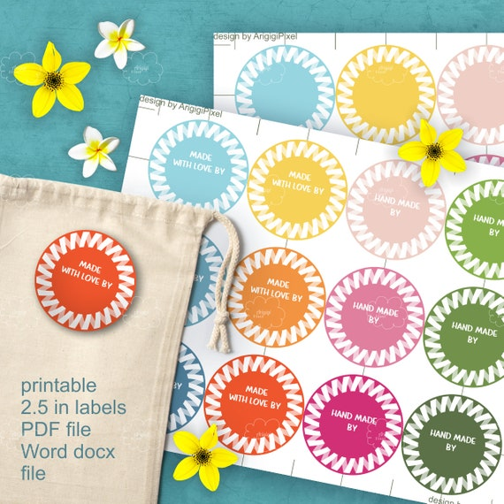 printable sheet of stickers 2.5 inch - edit text Word file - spring trendy colors 2017 - brand stickers download PDF