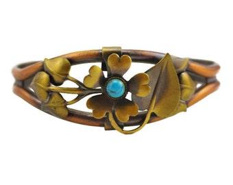 Copper Flower Cuff Bracelet, Copper and Brass Flower Cuff Bracelet, Copper and Brass Cuff Bracelet, Vintage Copper Cuff Bracelet
