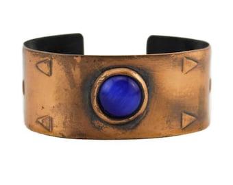 Wide Copper Cuff Bracelet with Blue Stone, Vintage Copper Cuff Bracelet, Copper and Blue Bracelet