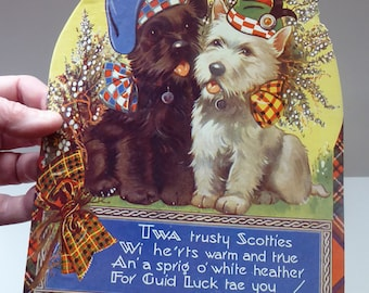 Genuine 1950s Scottish Cardboard Wall Calendar: Featuring Black and White Scottie Dogs Wearing Glengarrys