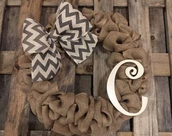 Monogram Initial C Burlap Wreath / Front Door Wreath / Rustic Wedding Decor Gift / Rustic Wreath / Front Door Initial C Hanger