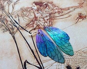 Fairy Wing Earrings, Fairy Earrings, Faerie Earrings, Iridescent Purple Earrings, Hand Painted, Purple & Turquoise, Dangle Earrings, Boho