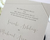 The Juniper Suite - Whimsical Modern Letterpress Wedding Invitation Suite, Modern, Grey, Gray, White, Winter