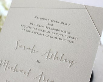 The Juniper Suite - Sample - Whimsical Modern Letterpress Wedding Invitation Suite, Modern, Grey, Gray, White, Winter