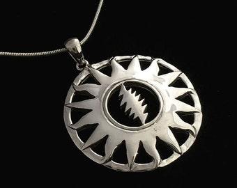 Grateful Dead Sterling Silver Sunshine Daydrean Pendant on Silver Chain