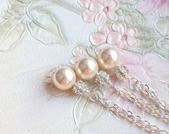 Set of 6 Blush Necklaces, Bridesmaid Gift 6 Jewelry, Creamrose Swarovski 6 Pearl Necklaces, Bridesmaid Gift 6 Pink Bridesmaid Jewelry Set 6