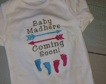 Baby announcement bodysuit personalized