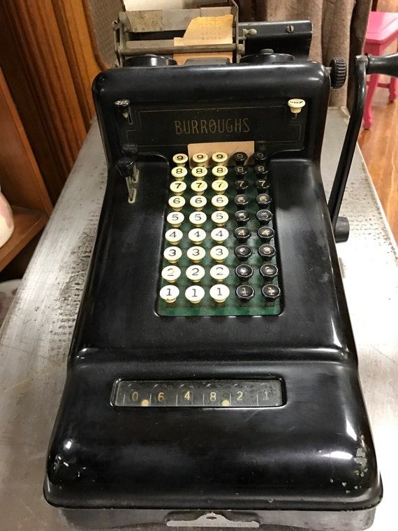 Burroughs adding machine with hand crank non electric