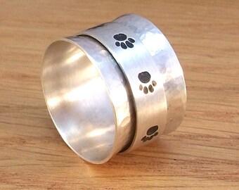 Sterling silver spinner paw print ring, 925 silver, Animal spinner ring