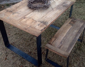 Modern Industrial Wood Dining Table, barnwood furniture, industrial wood table, rustic furniture, reclaimed wood table, free shipping