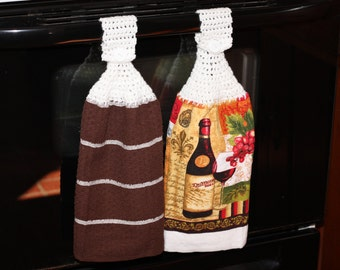 Crochet Top Kitchen Towel Set, 2 Kitchen Towels with Crochet Top, Wine Kitchen Decor, Wine Kitchen Towel, Dish Towels that Hang